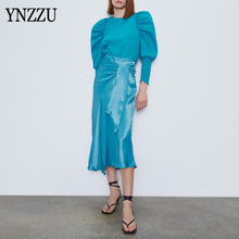 High street Women Two piece set 2020 New Puff sleeve Female Cotton tops