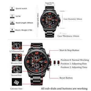 Image 5 - Nibosi relógio de quartzo/esportivo masculino, relógio de marca de luxo à prova d água militar exército em aço inoxidável grande negócios