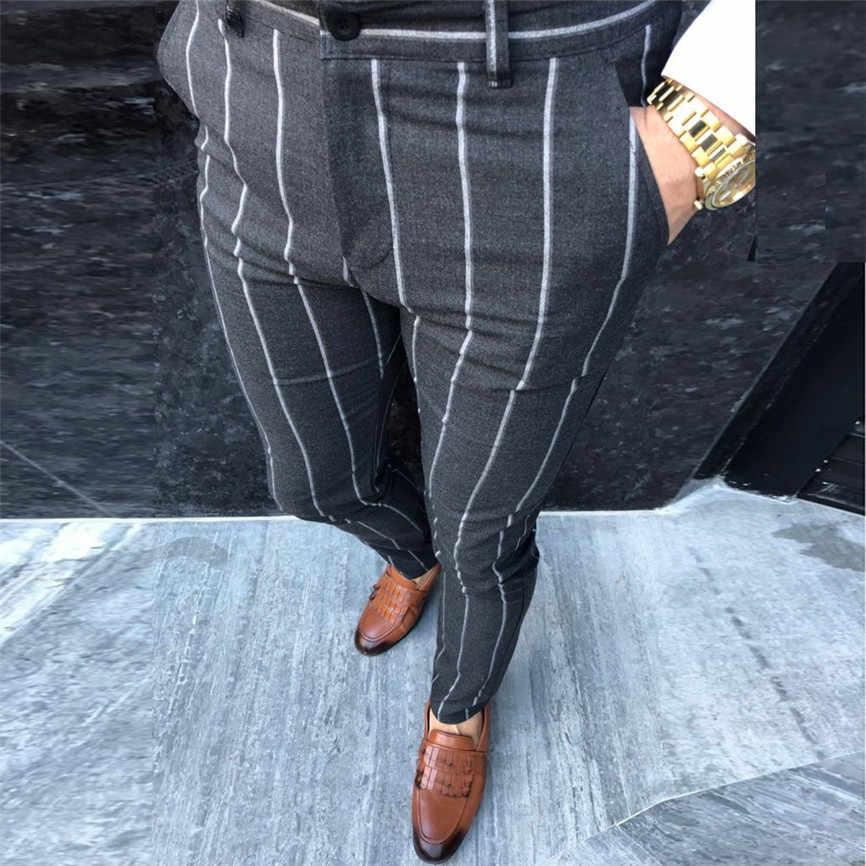 Pantalones De Vestir A Rayas De Moda Para Hombres Pantalones De Negocios Informales Ajustados Pantalones De Traje Vintage Clasico Para Boda Pantalones Informales Aliexpress