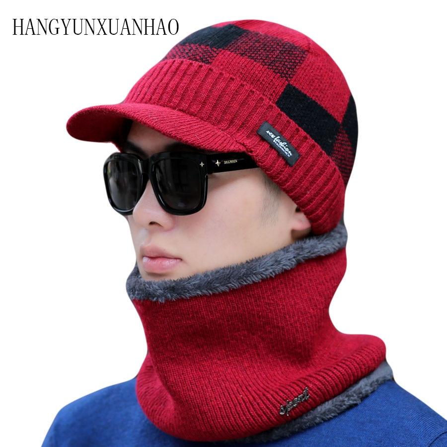 Men's Thick Striped Winter Scarf Hat Set Knitted Beanies Cap Men Double Layer Add Warm Velvet Skullies Bonnet Scarves Sets