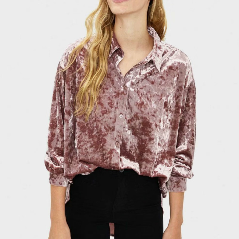 England High Street Vintage Velvet Pink Solid Loose Blusas Mujer De Moda Kimono Shirt Womens Top Tshirts Blusas Mujer De Moda