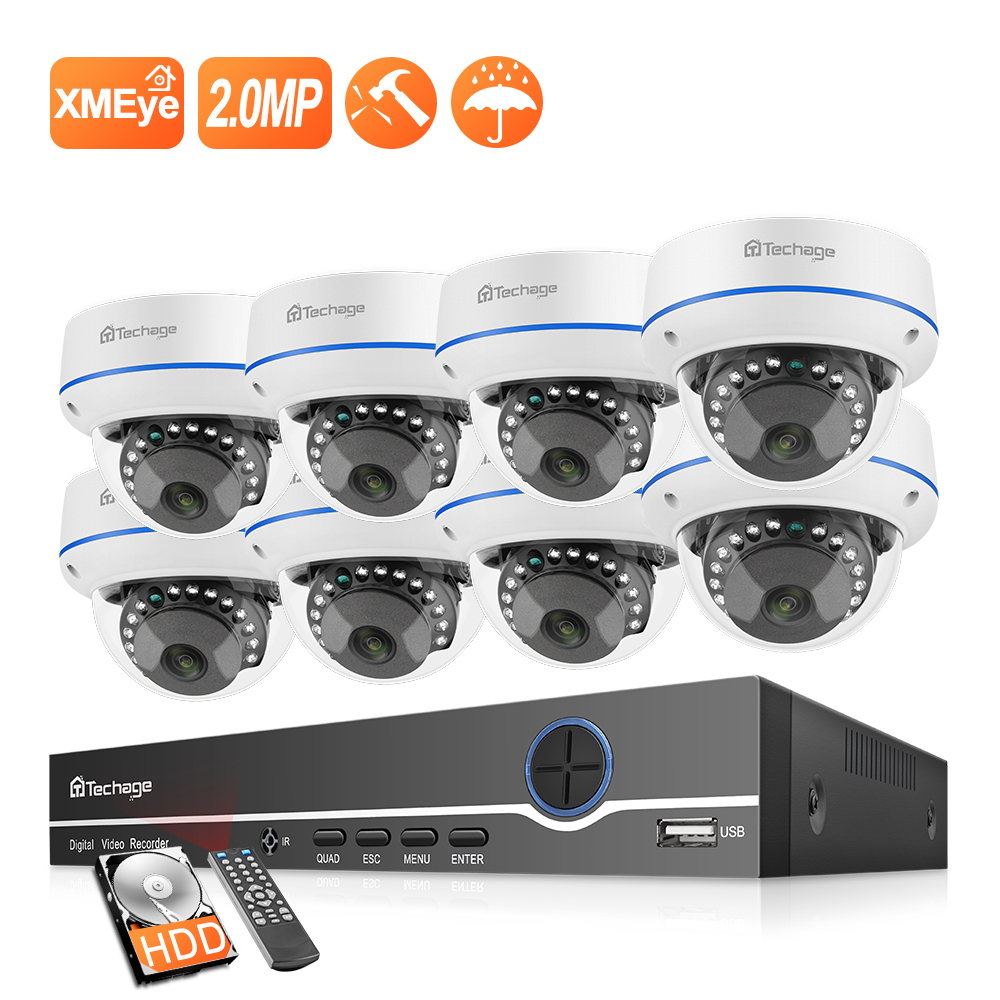 Techage 8CH 1080P POE NVR Kit H.265 CCTV System 2MP Audio Mikrofon Dome Indoor Sicherheit IP Kamera P2P Video überwachung Set