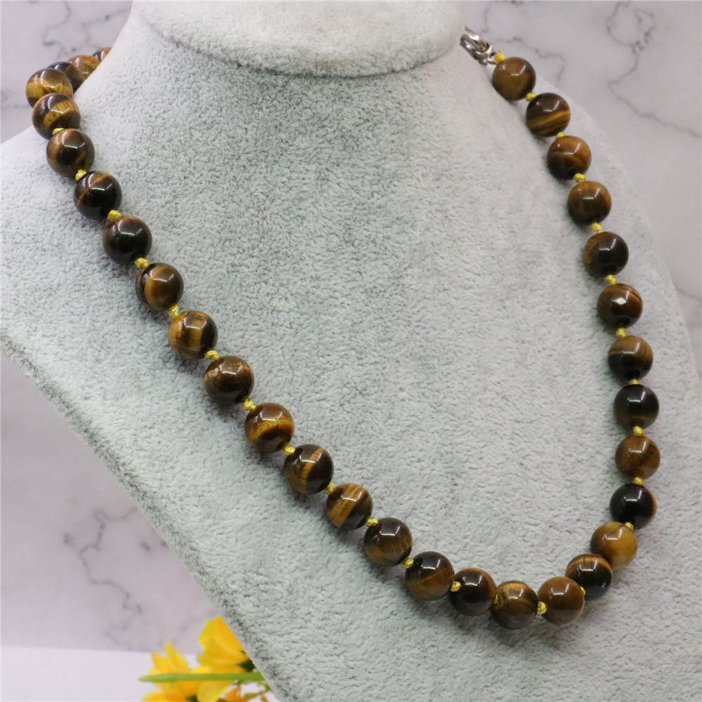 New Classic Natural Stone Yellow Tiger Eye Stone Round Beads 8/10/12mm Women's Chain Party Necklace Jewelry Gift 18inch Y743