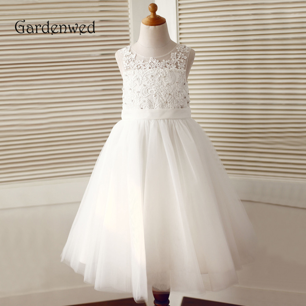 Gardenwed 2019 Detailed Lace Appliques Bodice Scoop Neck A Line White Tulle Skirt Long White Dress For Flower Girls Gowns