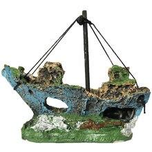 2021 quente aquário tanque de peixes paisagem navio pirata naufrágio decoração do navio resina ornamento barco acessórios do aquário decoração # y5
