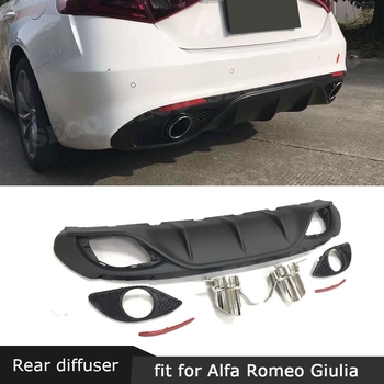 Carbon Fiber Rear Lip Diffuser Spoiler with Steel Exhaust for Alfa Romeo Giulia Standard 2016-2018 Sport Style PP Bumper Guard