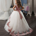 女の子ドレスレースの弓エレガントな王女ため花嫁介添人のウェディングパーティードレス子供服 4 10 12 年