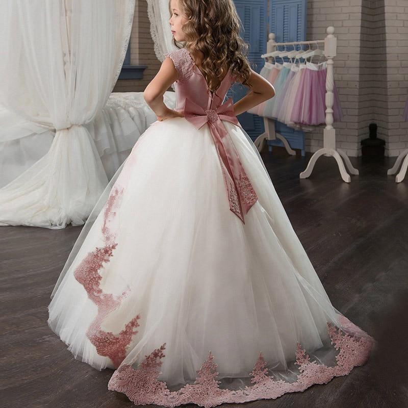 Girls Dress Lace Bow Elegant Princess Dress Kids Dresses For Girls Bridesmaid Wedding Party Dress Children Clothing 4 10 12 Year