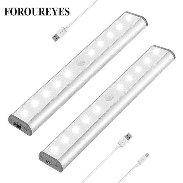 Lâmpada led com sensor de movimento pir, luz de baixo de armário, 6/10/20leds, para guarda roupa, armário luz noturna da cozinha