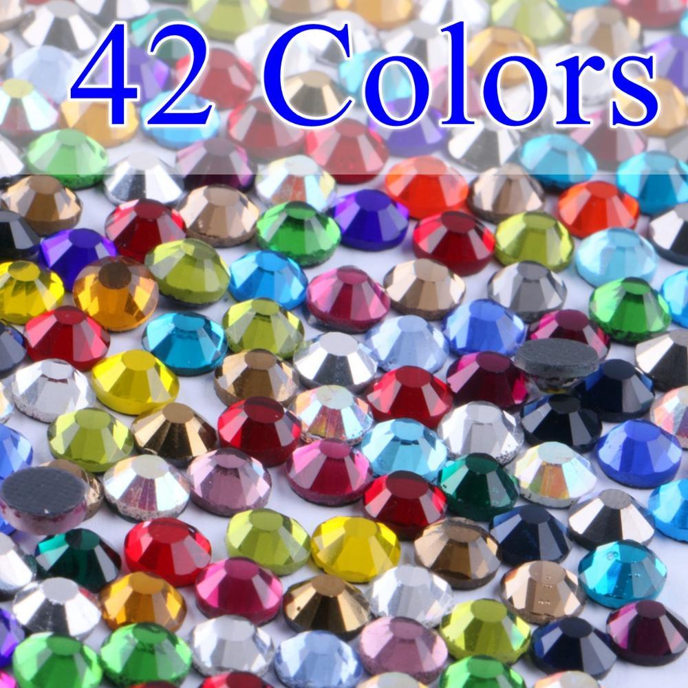 Toutes les couleurs toutes les tailles DMC Hotfix strass SS6 SS10 SS16 SS20 SS30 pierres de cristaux de verre Hot Fix fer à repasser FlatBack avec colle