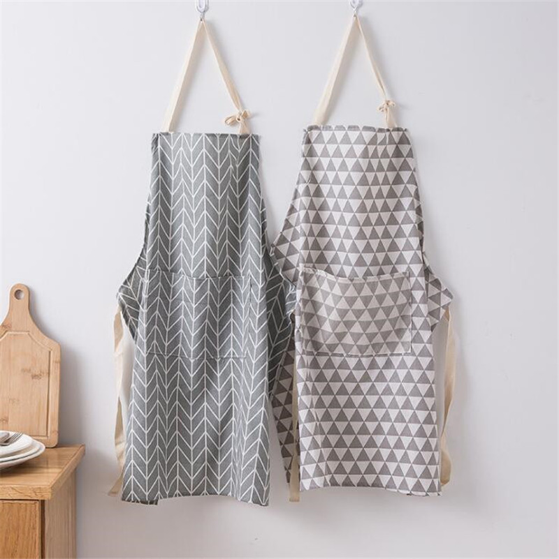 1Pcs Striped Print Cotton Linen Apron Adult Child Home Cooking Baking Coffee Shop Cleaning Aprons Kitchen Accessory