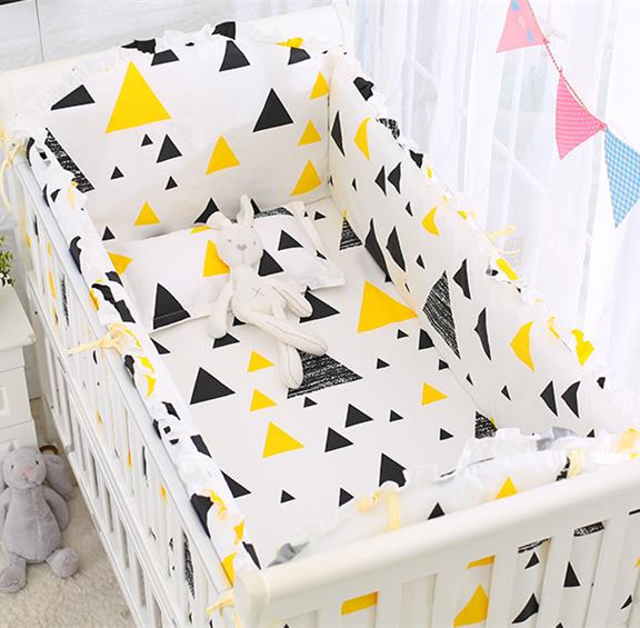 6PCS Triangle Crib Bedding Baby Bedding Set Sweet Yellow Baby Nursery Crib Bumper Cosas Para Bebe(4bumper+sheet+pillow Cover)
