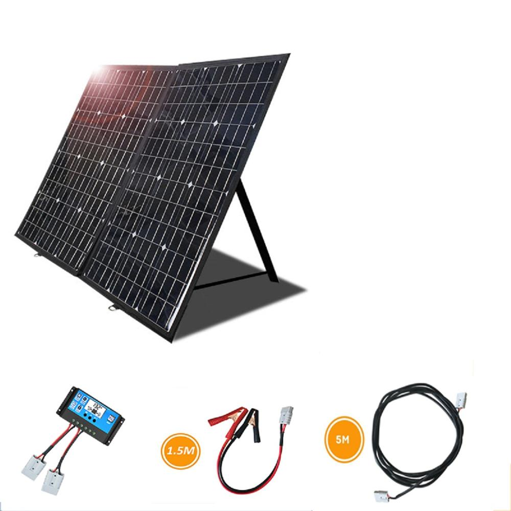 Portable <font><b>Solar</b></font> <font><b>Panel</b></font> <font><b>120</b></font> <font><b>Watts</b></font> 12 Volt Foldable Monocrystalline with <font><b>solar</b></font> Charge Controller for RV Camping image
