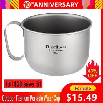 Taza de agua portátil de titanio para exteriores de 500ml, Mini taza de té y café, taza de vino ultraligera de titanio, viaje, Camping, senderismo, mochilero