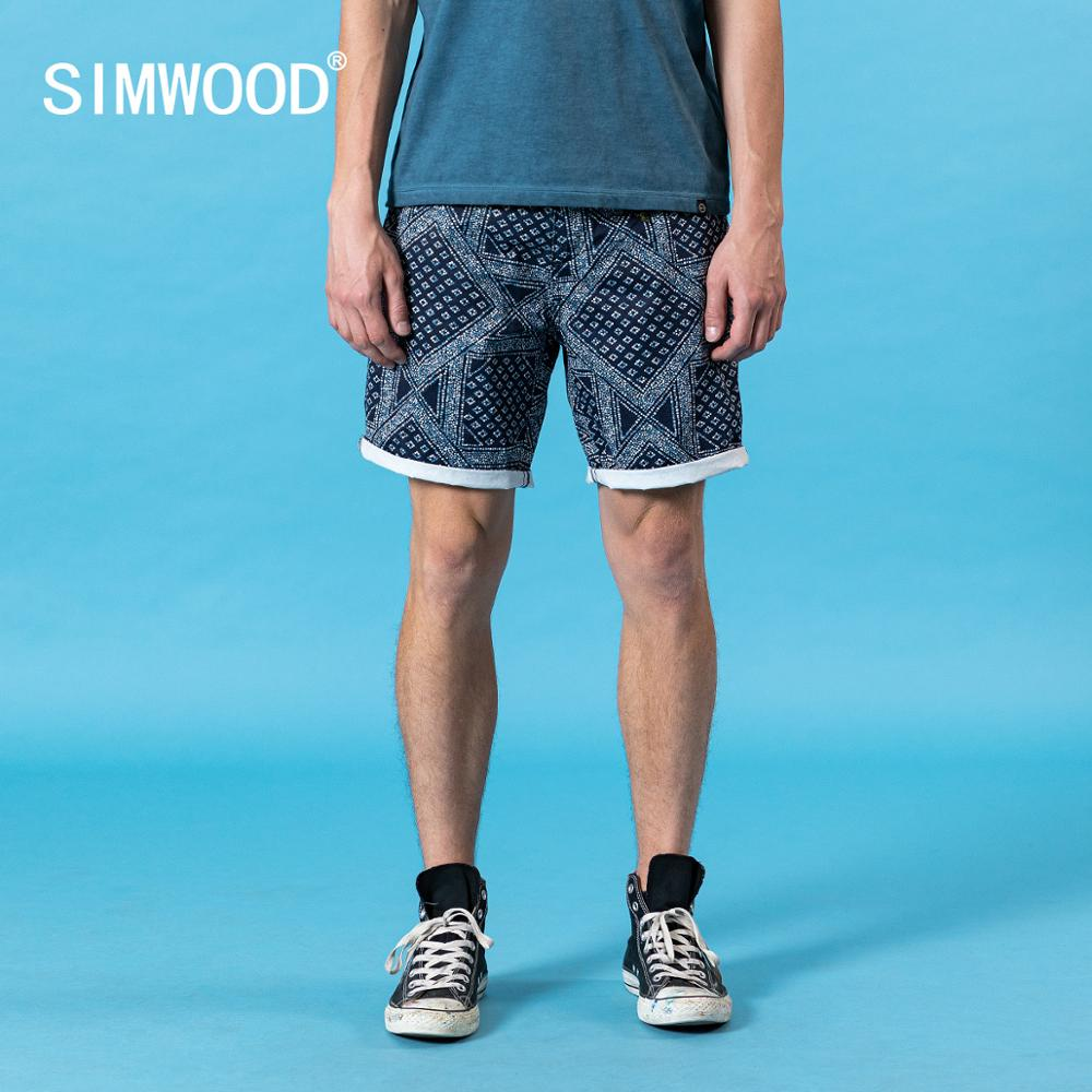 SIMWOOD 2020 Summer New  Bandana-Print Shorts Men Causal 100% Cotton High Quality Plus Size Short Trousers Clothing SJ170427