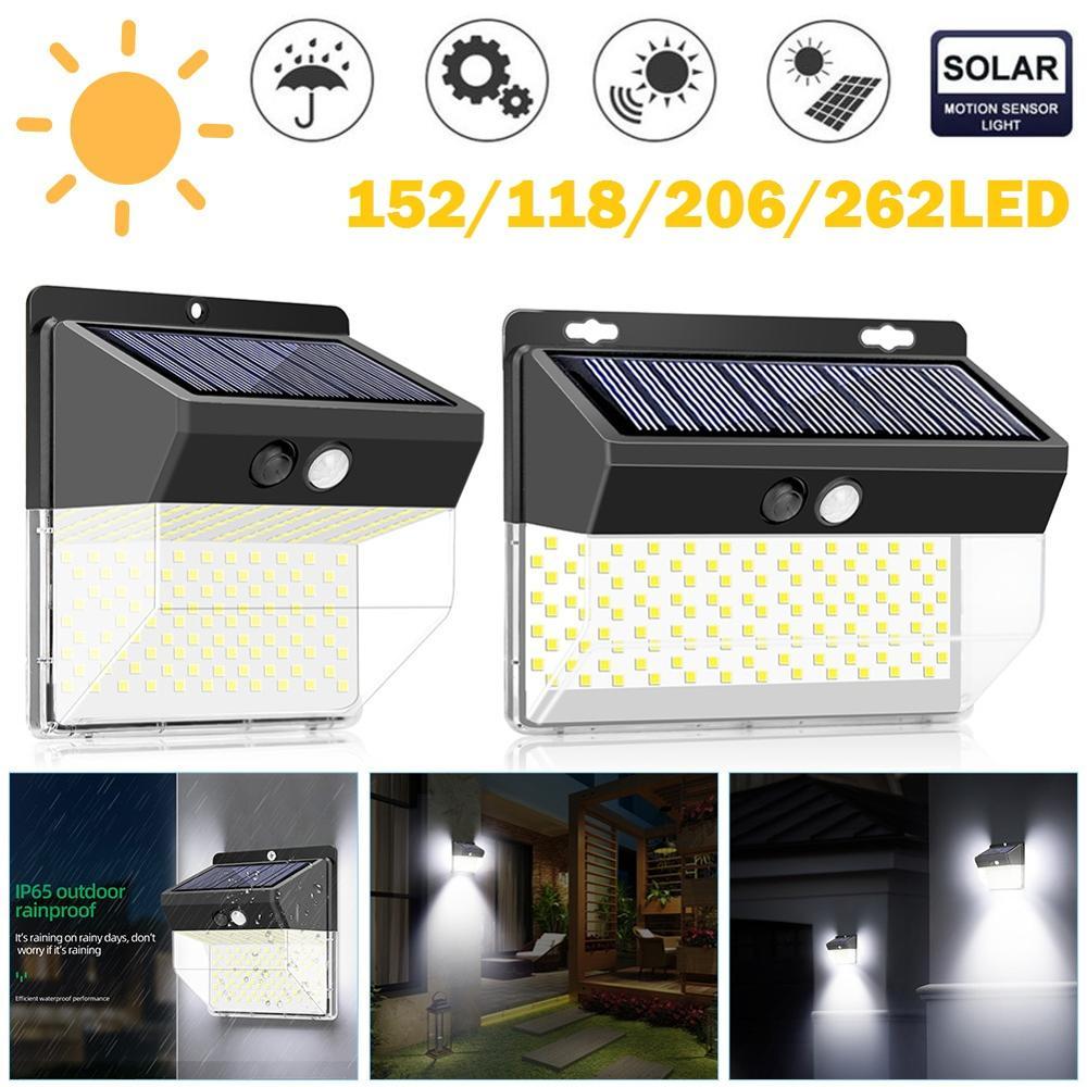 2Pcs 118/206 LED Solar Light PIR Motion Sensor Wall Lights Outdoor Waterproof Energy Saving Home Garden Street Yard Lamp