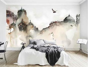Custom high quality 3d wallpaper mural nordic city architecture watercolor castle abstract art background wallpaper 3d wallpaper wallpaper city guide mexico city 2012