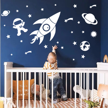 Creative Outer Space Planet Wall Stickers for Kids Room Cartoon Astronaut Art Wall Decals Vinyl Home Decor Baby Nursery Room 1