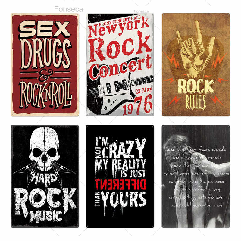 Rock & Roll metalowy znak znak blaszany plakietka metalowa Vintage rockowe metalowy plakat Retro ściana wystrój dla Bar Pub Club Man Cave