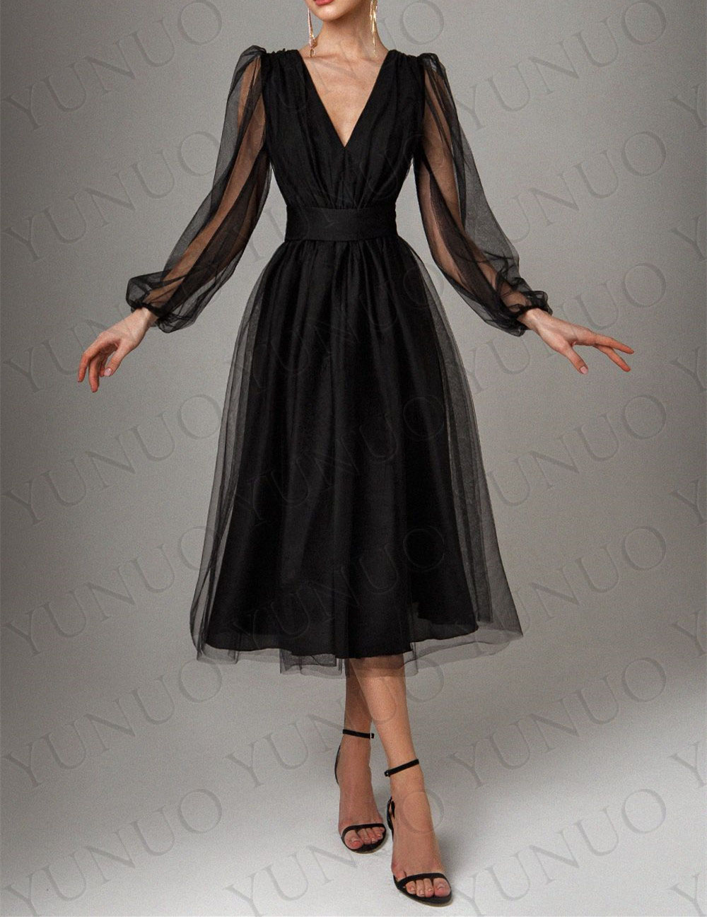 YUNUO Black Long-sleeved Midi Prom Dress robes de cocktail V Neck Back Tulle платье на выпускной فساتين السهرة Evening Dresses