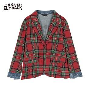 Image 5 - ELFSACK Plaid Patchwork Denim Blazer Women 2019 Autumn Korean Style Female Blazers And Jackets Streetwear Office Ladies Outwear