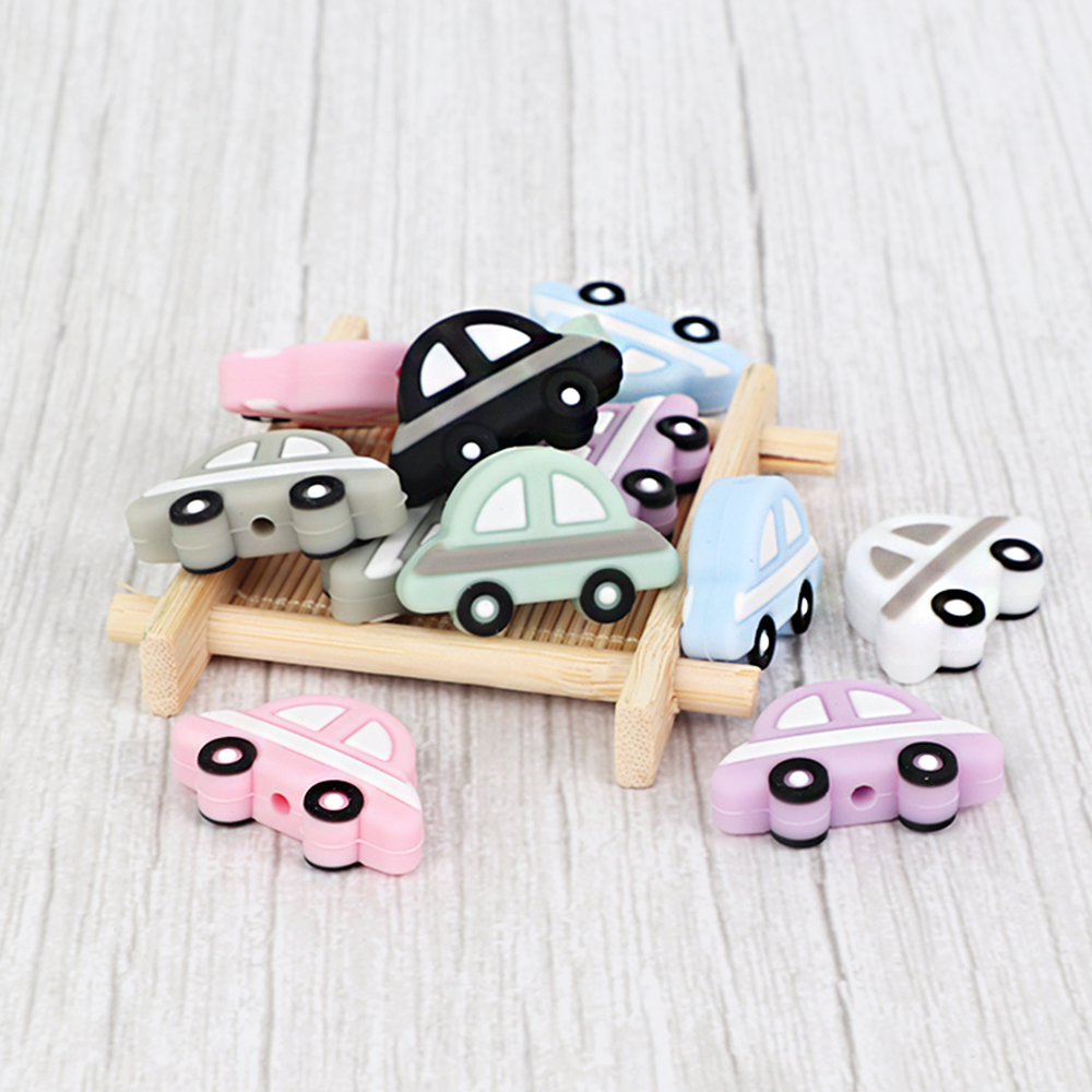 Bpa Free 10pc Baby Silicone Beads Car Shape For Diy Teething Toys Necklace Nursing Gift Food Grade Silicone Teether Mini