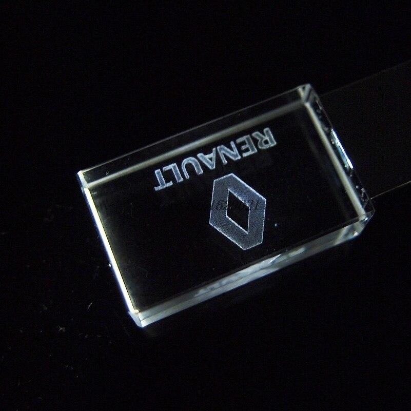 Hot Koop Crystal Usb Renault & Peugeot Auto Logo 4G 16Gb Flash Drive 2.0 Usb Pen Drive 32gb Led Memory Disk 128Gb 64Gb Cool Gifts 3