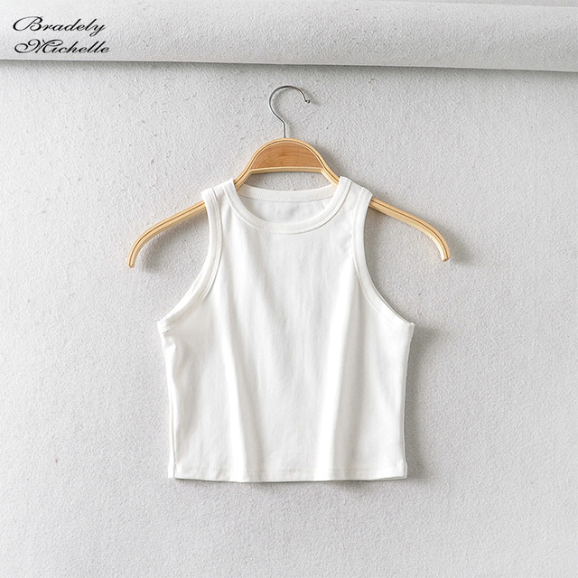 BRADELY MICHELLE 2020 Summer Women's party cotton Crop Tops sexy Elastic Solid sleeveless o-neck Short Tank Top Bar 6