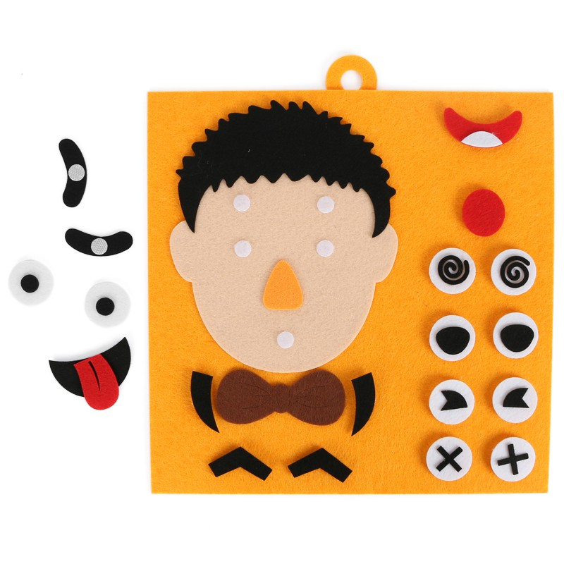 Kids Educational Toys DIY Emotion Facial Expression Change Non-woven Stickers Puzzle Toys Baby Toys