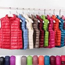Brand Ultralight Down Vest Women 2021 New Sleeveless Slim Women Duck Down Waistcoat Windproof Warm Vest Jacket Portable