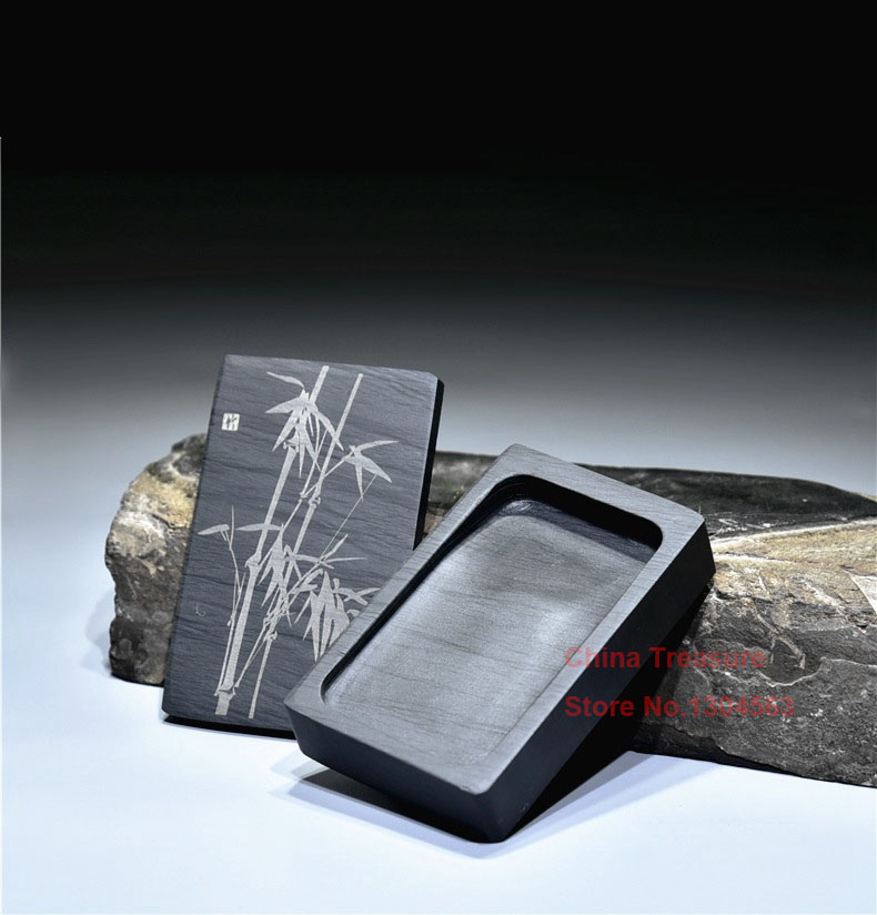Chinese Inkstone Rectangle Calligraphy Ink Stone Student Ink Well With Cover Inkwell Grinding Made Of Natural Stone Ink-well