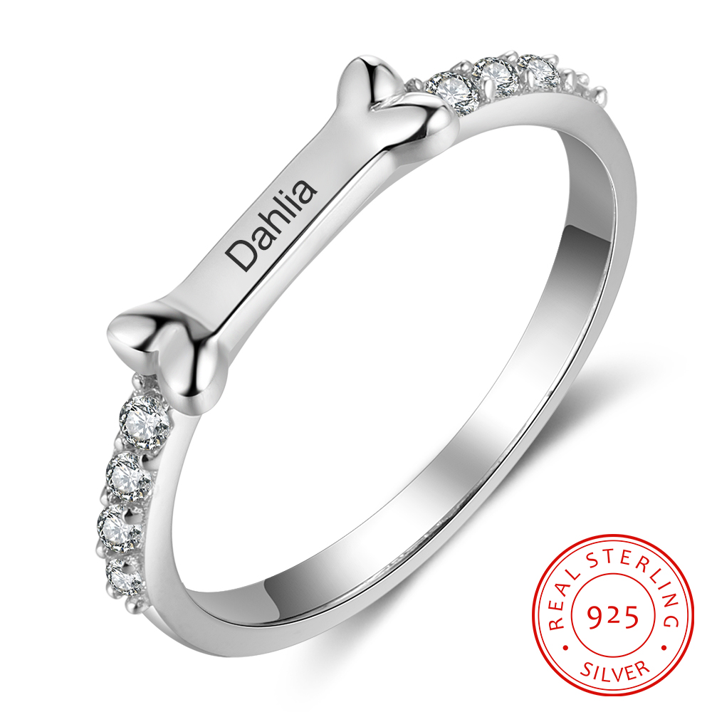 Sterling Silver 925 Personlized Dog Bone Shaped Fashionable Rings For Women Custom Engraved Name Rings Anniversary Jewelry