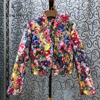 SEQINYY Luxury Jacket 2020 Spring Autumn New Fashion Design Bead Sequins Crystal Colorful Flowers Print Jacquard Top Women