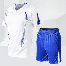 Лето костюм мужчины устанавливает фитнес быстросохнущие с коротким рукавом шорты спортивный костюм o-образный твердых двухсекционный баскетбол футбол комплект