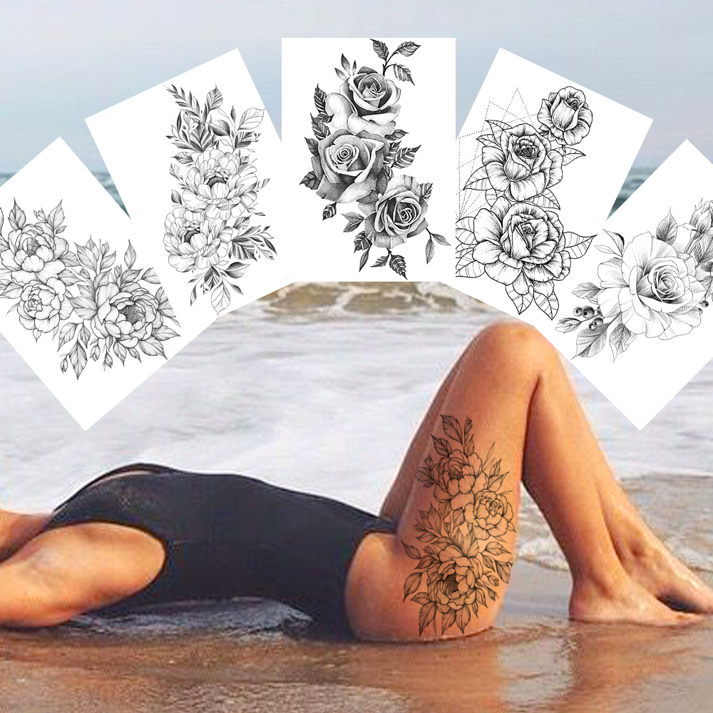 Sexy Flower Temporary Tattoos For Women Body Art Painting Arm Legs Tattoos Sticker Realistic Fake Black Rose Waterproof Tattoos