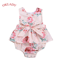 OKLADY 2019 Summer Newborn Baby Girl Clothes Toddler Girls Floral Romper Sleeveless Belt Pink Cute Fashion Outfit Rompers 0-2T