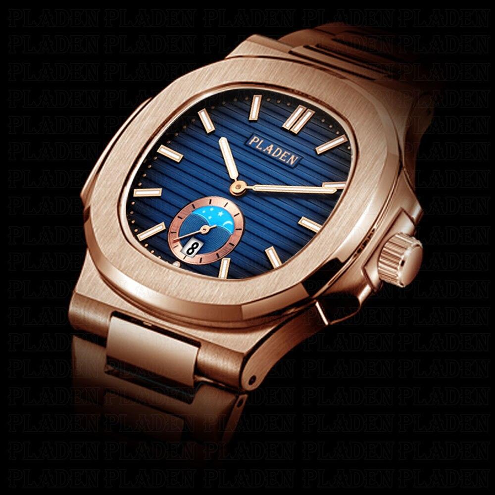 PLADEN уникальные часы для мужчин роскошные золотые мужские часы лучший бренд класса люкс нержавеющая сталь мужские модные черные кварцевые