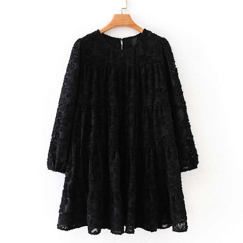 AGong solidna O Neck sukienki moda damska teksturowana luźna sukienka damska elegancka, długa rękaw Mini sukienki damskie damskie IAA