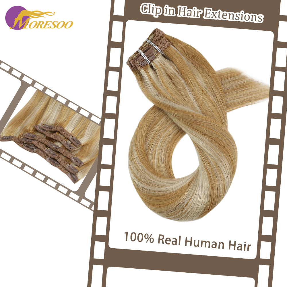 Moresoo Clip In Human Hair Extensions Hair Extension Machine Remy Piano Color 7Pieces 120g/pack Hair Clips
