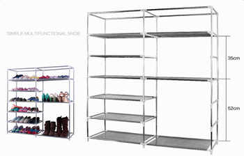 Double Rows 9 Lattices Combination Style Shoe Cabinet Gray Dustproof Shoes Rack Non-Woven Fabric Shoe Stands Organizer