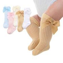Bonito bowknot infantil bebê meias de algodão arcos meninas joelho meias primavera verão malha crianças infantil da criança do joelho meias altas sokken 0-2y