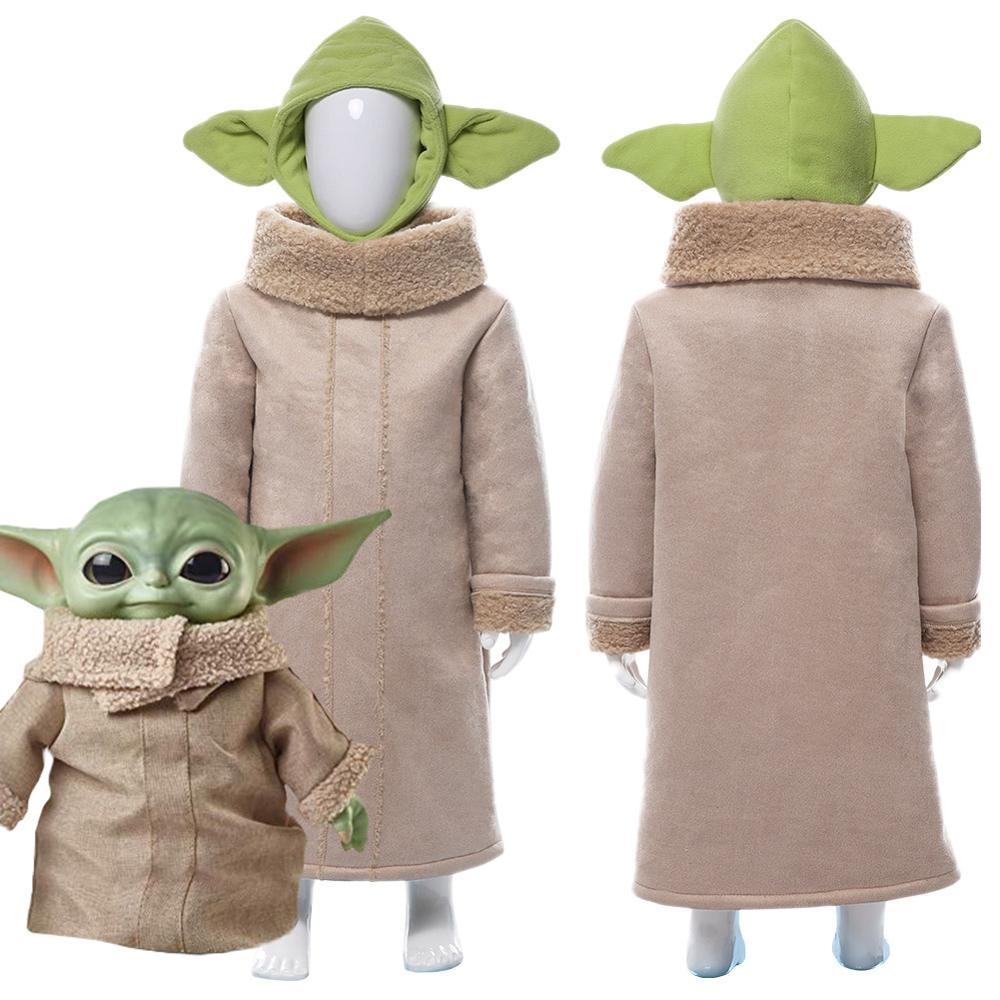 Kids Child Star War Mandalor Mandalorian Yoda Robe Cosplay Costume Cute Halloween Carnival with Hat Costumes Children coat