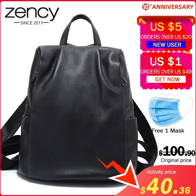 Zency Anti-theft Women Backpack 100% Genuine Leather Black Travel Bag Big Schoolbag For Girls Fashion Female Knapsack Laptop