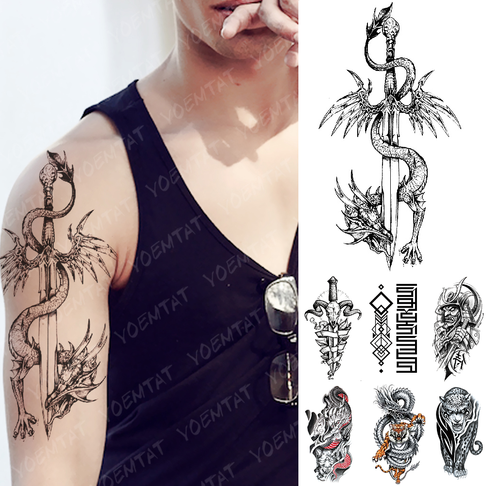 Waterproof Temporary Tattoo Sticker Dragon Sword Warrior Flash Tattoos Sheep Goat Knight Body Art Arm Fake Tatoo Women Men