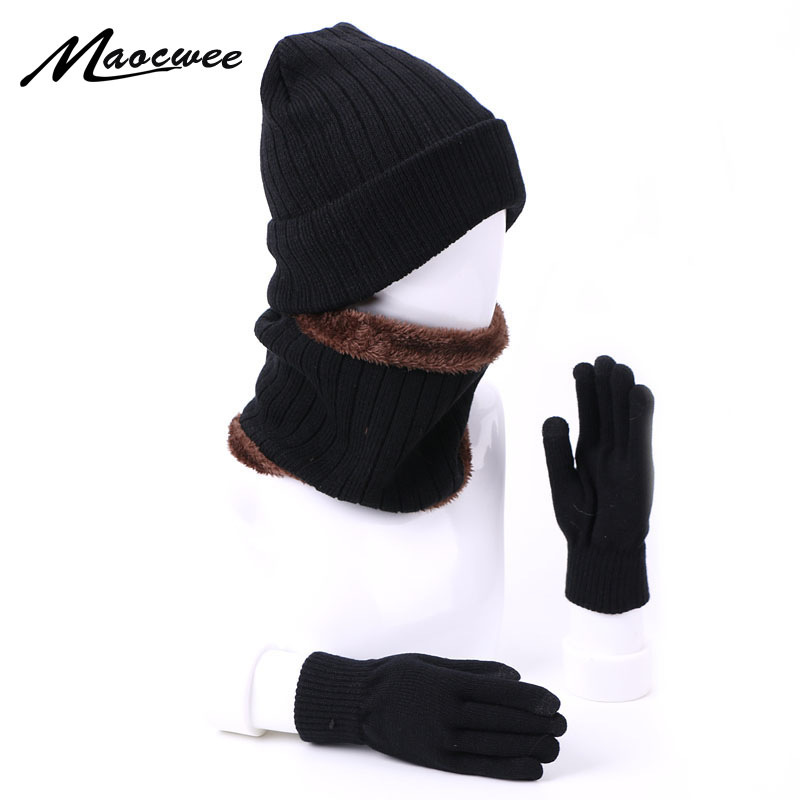 Knitted Winter Hat Scarf Gloves Set With Lining Women Men Thick Warm Outdoor Beanies Hat Touch Screen Gloves Soft Ring Scarf Set