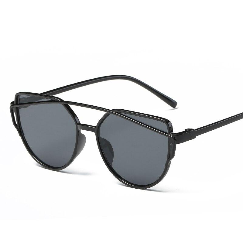 Sunglasses Ladies 2018 Fashion New Cat's Eyes Women  Double Beam   Plastic Frame UV400