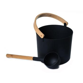 7L Luxurious Aluminum Sauna Bucket Pail With Ladle Long Handle Spoon Set Portable Bathroom Finnish Sauna Pail Room Tools