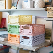 Collapsible Plastic Hamper Crate Folding Storage Basket Toy Cosmetics Lipstick Jewelry Box Desktop Sundries Fruit Organizer Case