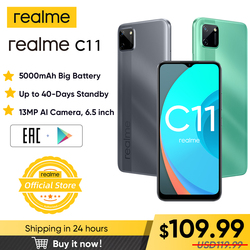 Realme C11 мобильные телефоны 6,5 дюймов 5000 мАч большая батарея 40 дней долгий режим ожидания 3 слота для карт Android смартфон 13 МП камера телефон