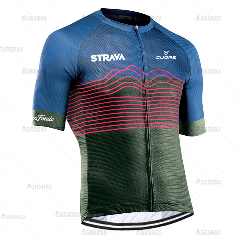 STRAVA Cycling Jersey MTB Bicycle Team Jersey 2021 Cycling Shirts Summer Premium Bicycle Clothing Males' Short Sleeve Bike Wear